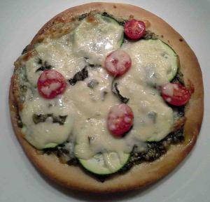 Zucchini, Pesto, Cherry Tomato Pizza